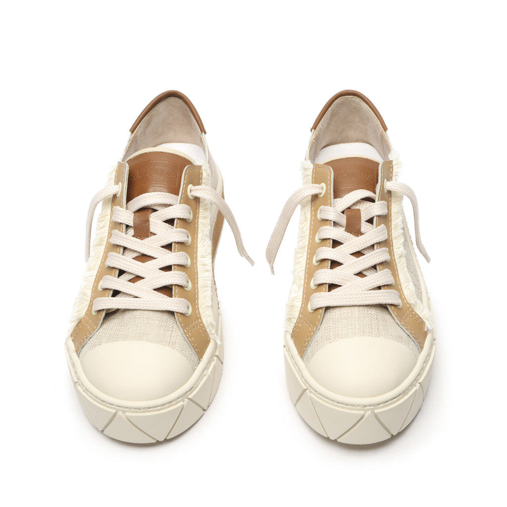 Evita Mixed Media Sneaker in Honey Beige