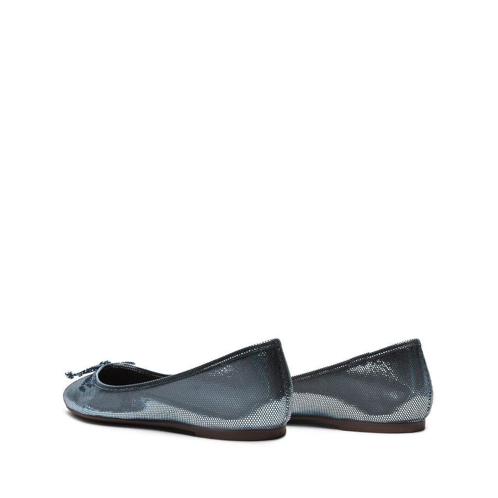 Damaris Metallic Leather Ballet Flat in Wonder Blue