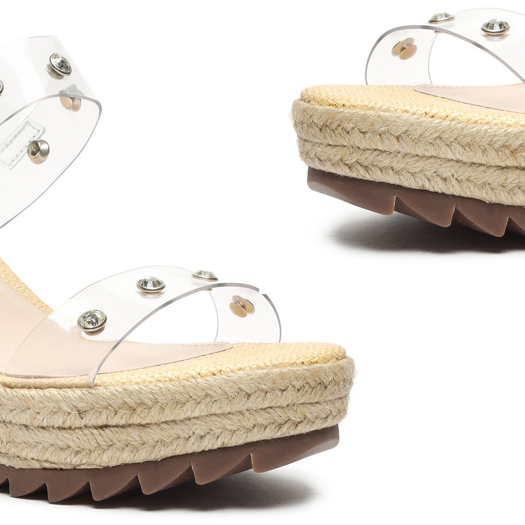 Holly Vinyl & Leather Sandal in Almond Buff