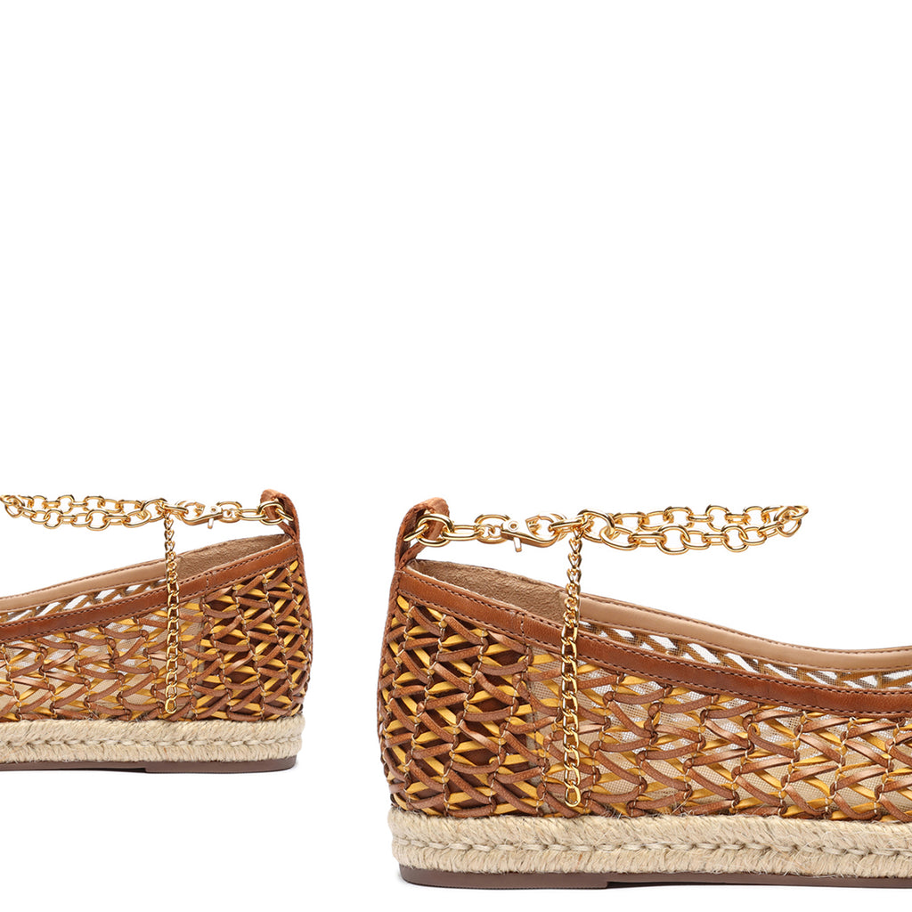Leona Braided Leather Espadrille in Camel