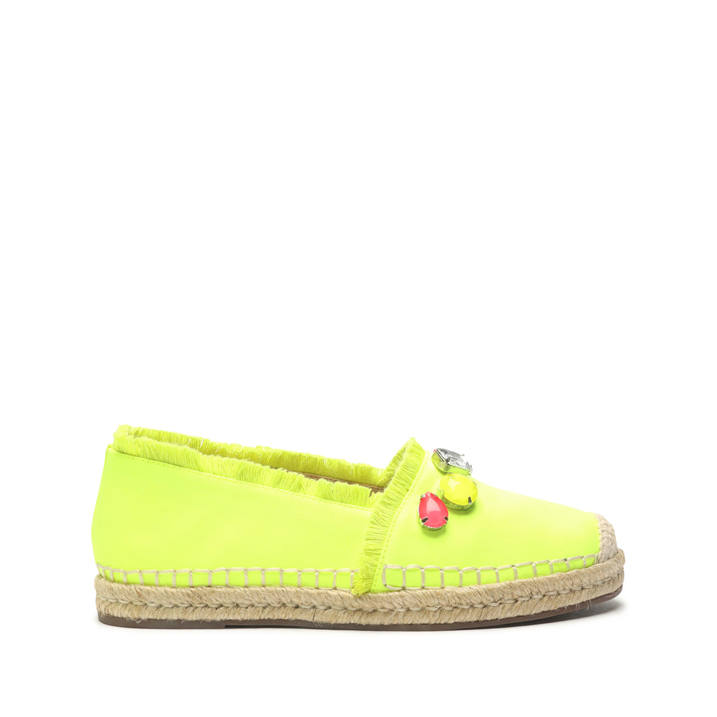 Kris Embellished Canvas Espadrille in Yellow