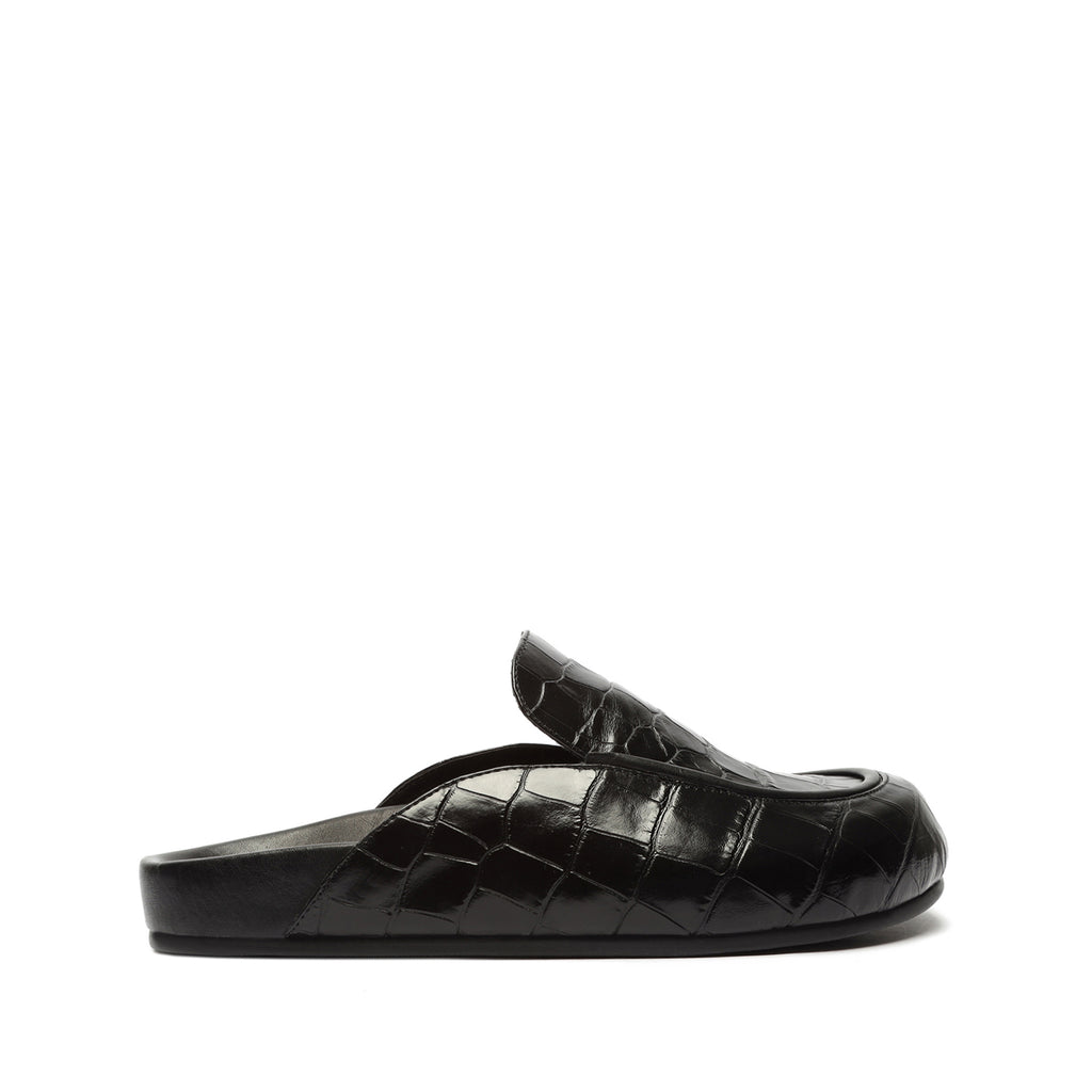 Annette Crocodile-Embossed Mule in Black
