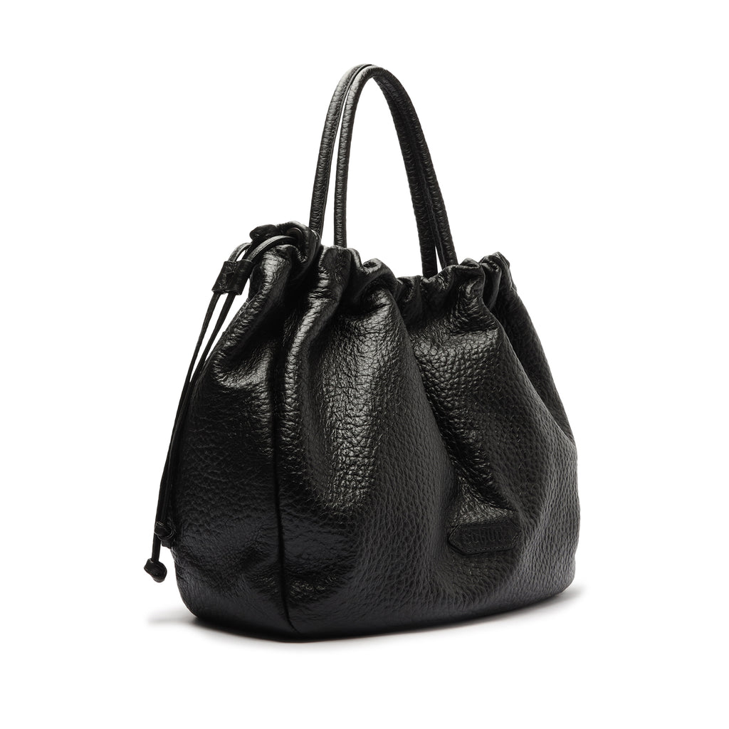 Kika Embossed Leather Tote in Black