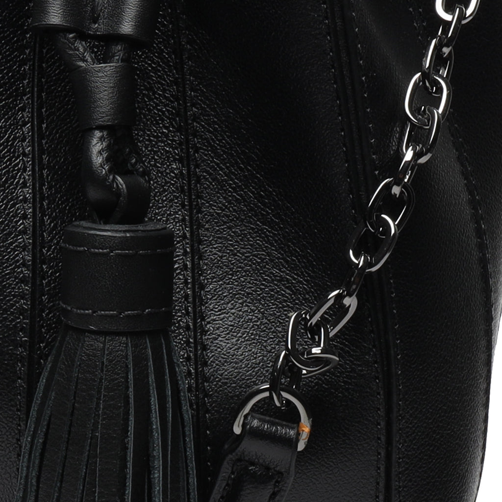Grace Leather Drawstring Bag in Black
