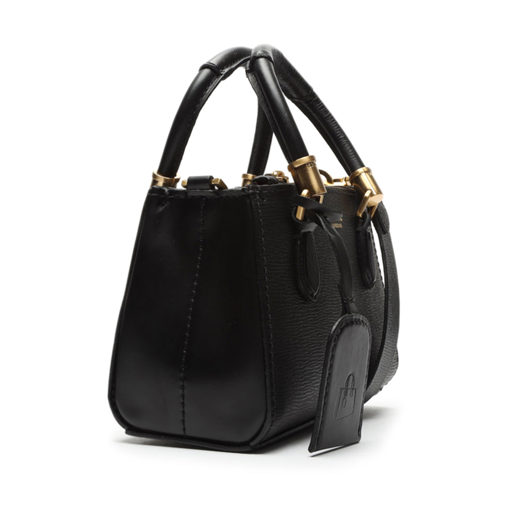 Lorena Mini Leather Bag in Black