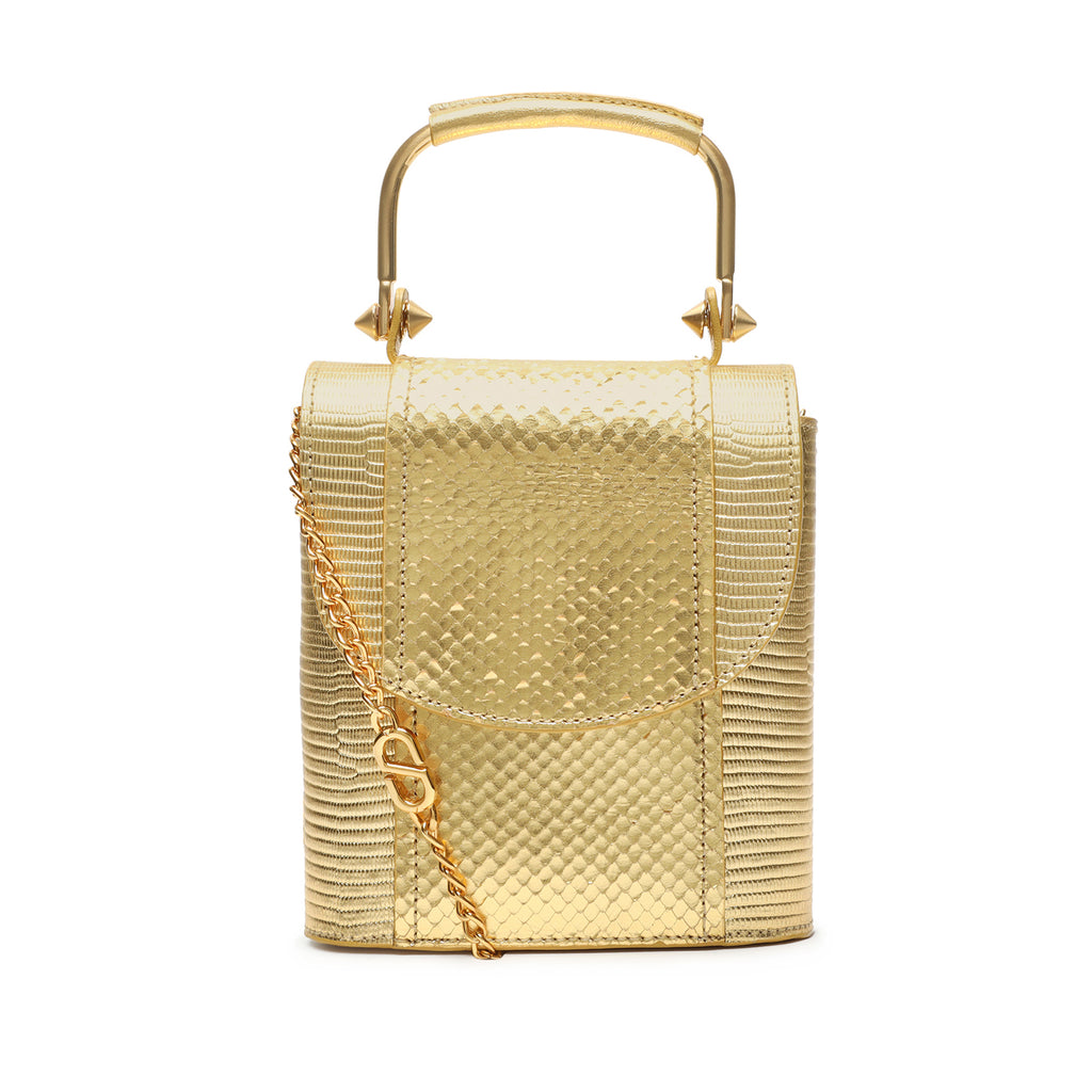 Crush Snake-Embossed Leather Bag in Gold