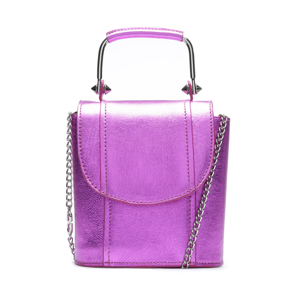 Crush Metallic Leather Bag in Bright Violet