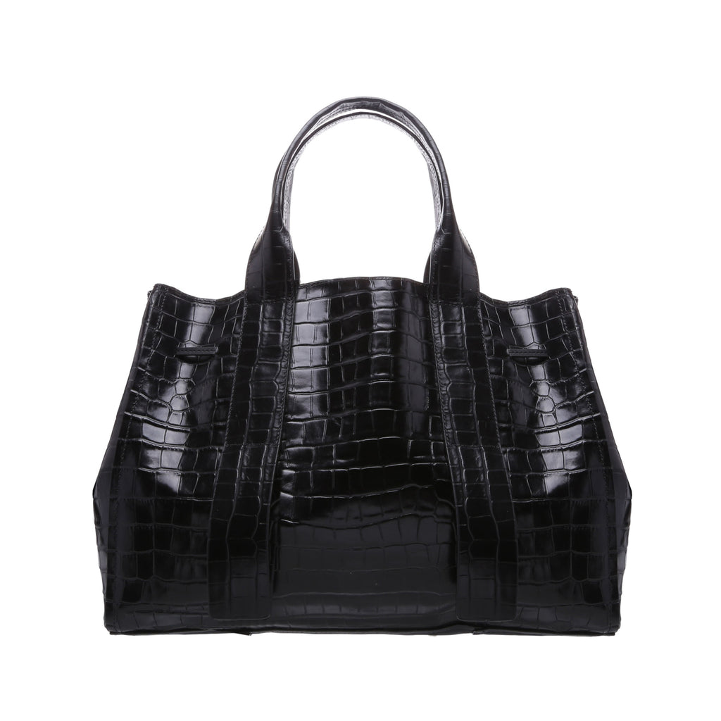 Maxi Crocodile-Embossed Leather Bag in Black