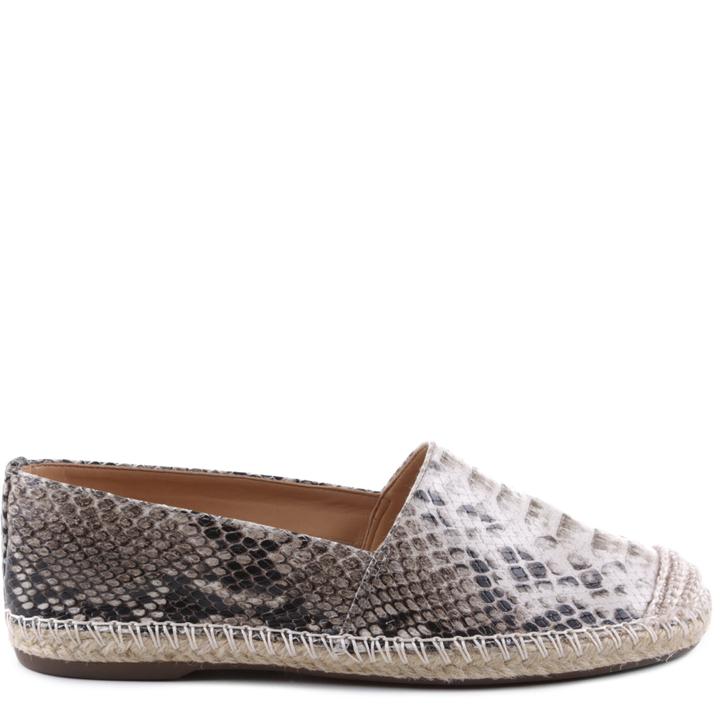 Sachi Flat Espadrille in Natural Snake