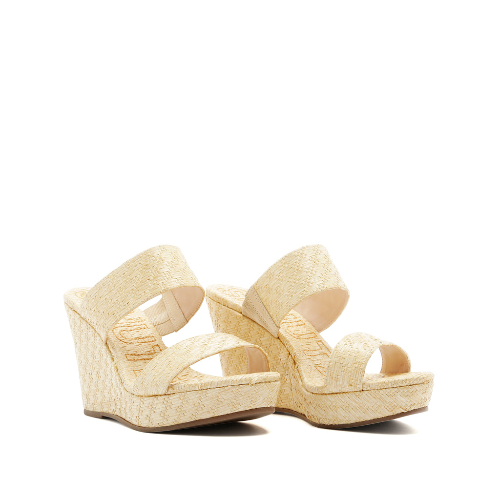 Tarla Wedge Sandal in Lightwood