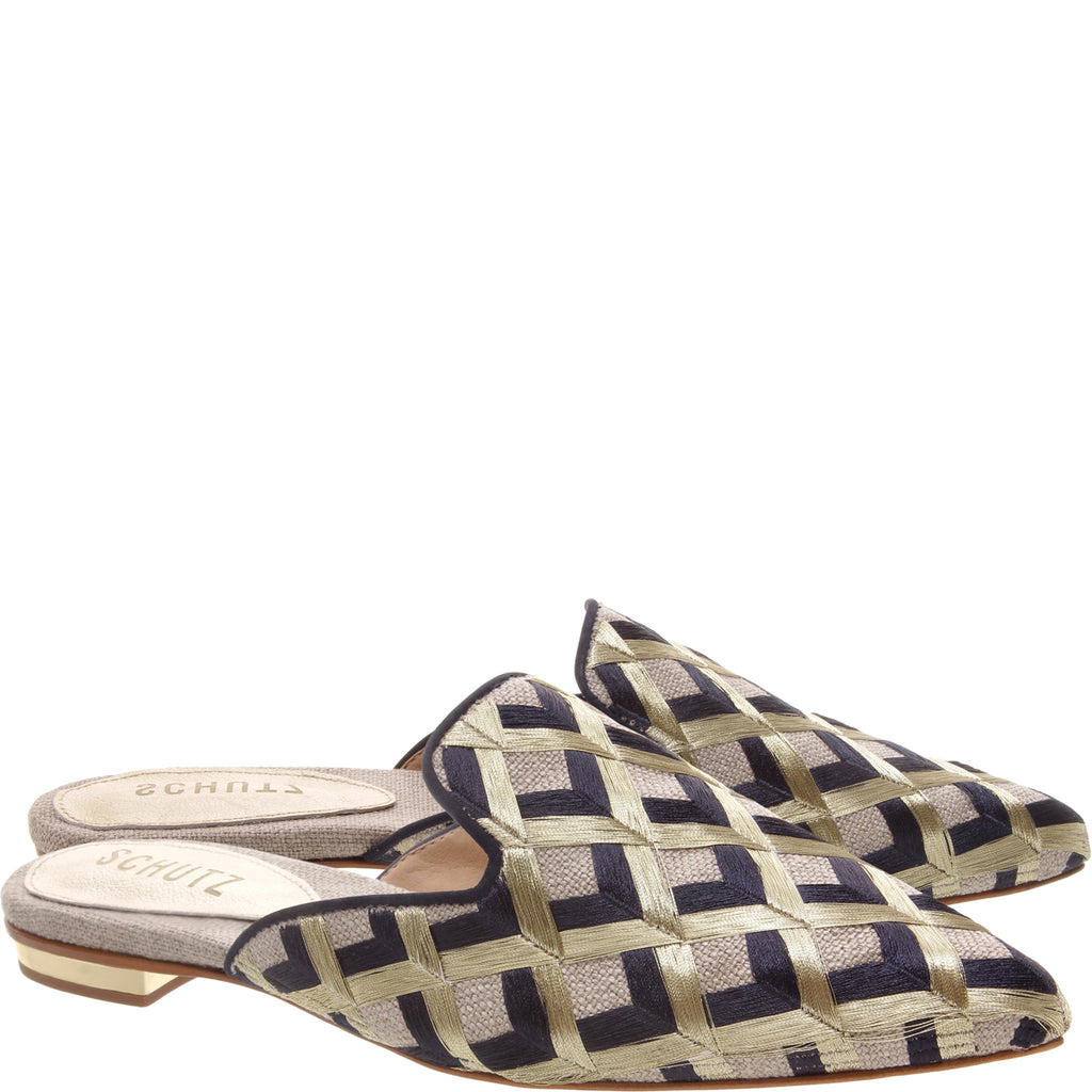Thana Flat Mule in Natural Blue Multi