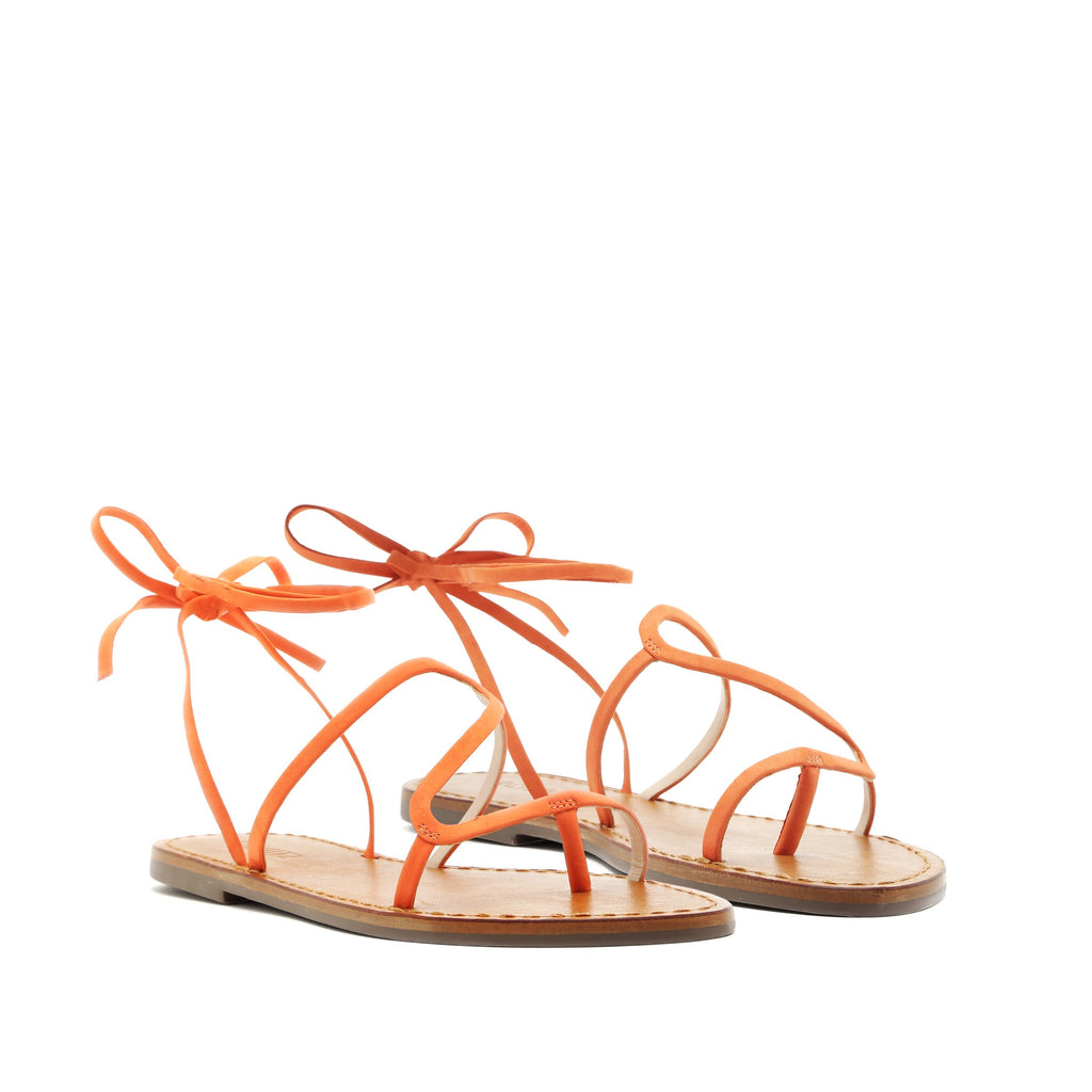 Urkula Flat Sandal in Flame Orange
