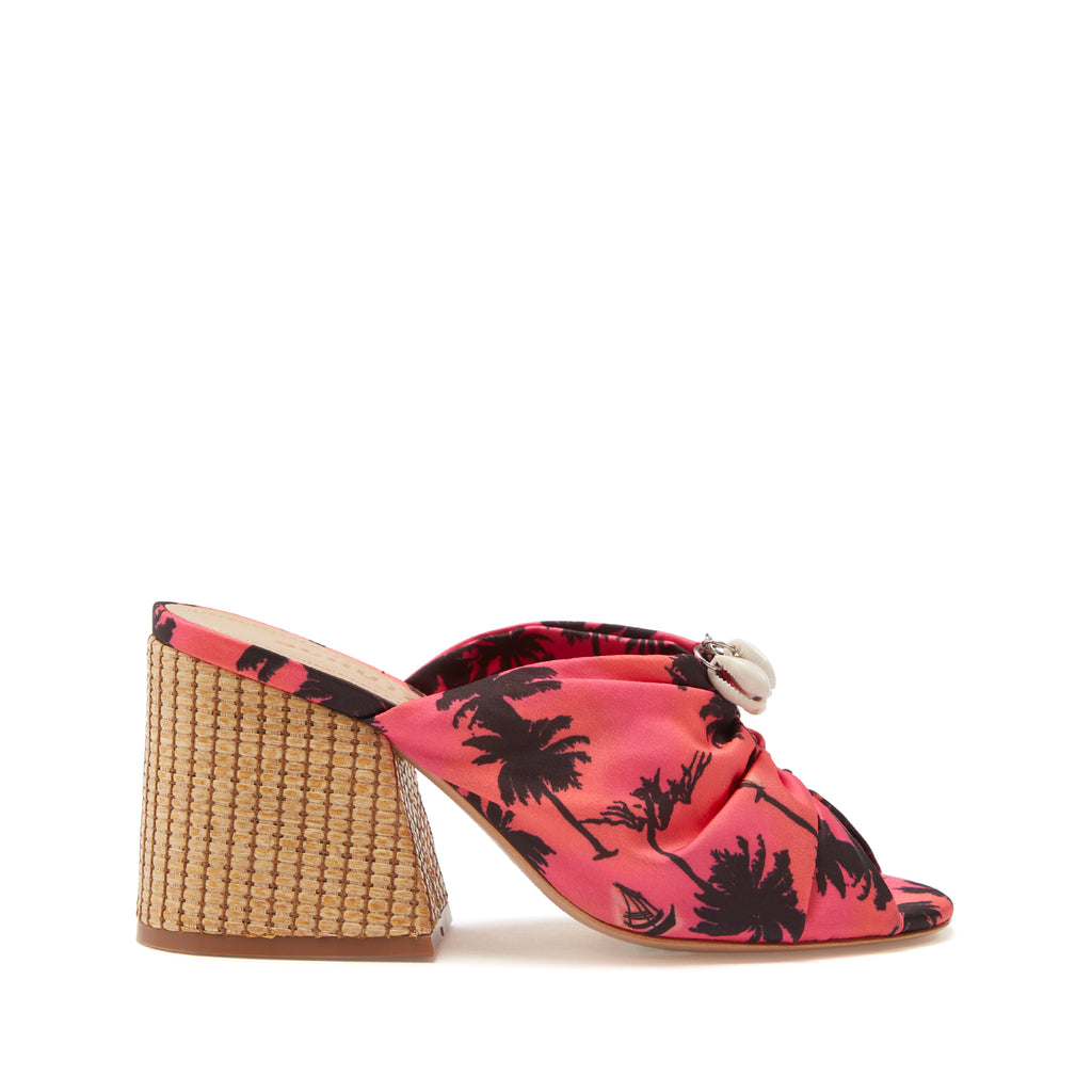 Veranice Sandal in Pink Palm Tree Multi