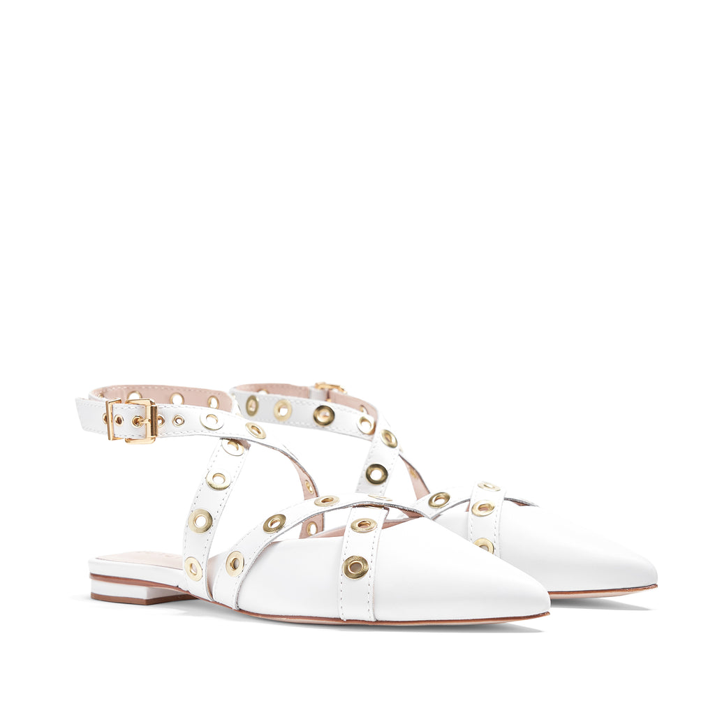 Emmie Leather Flat in White