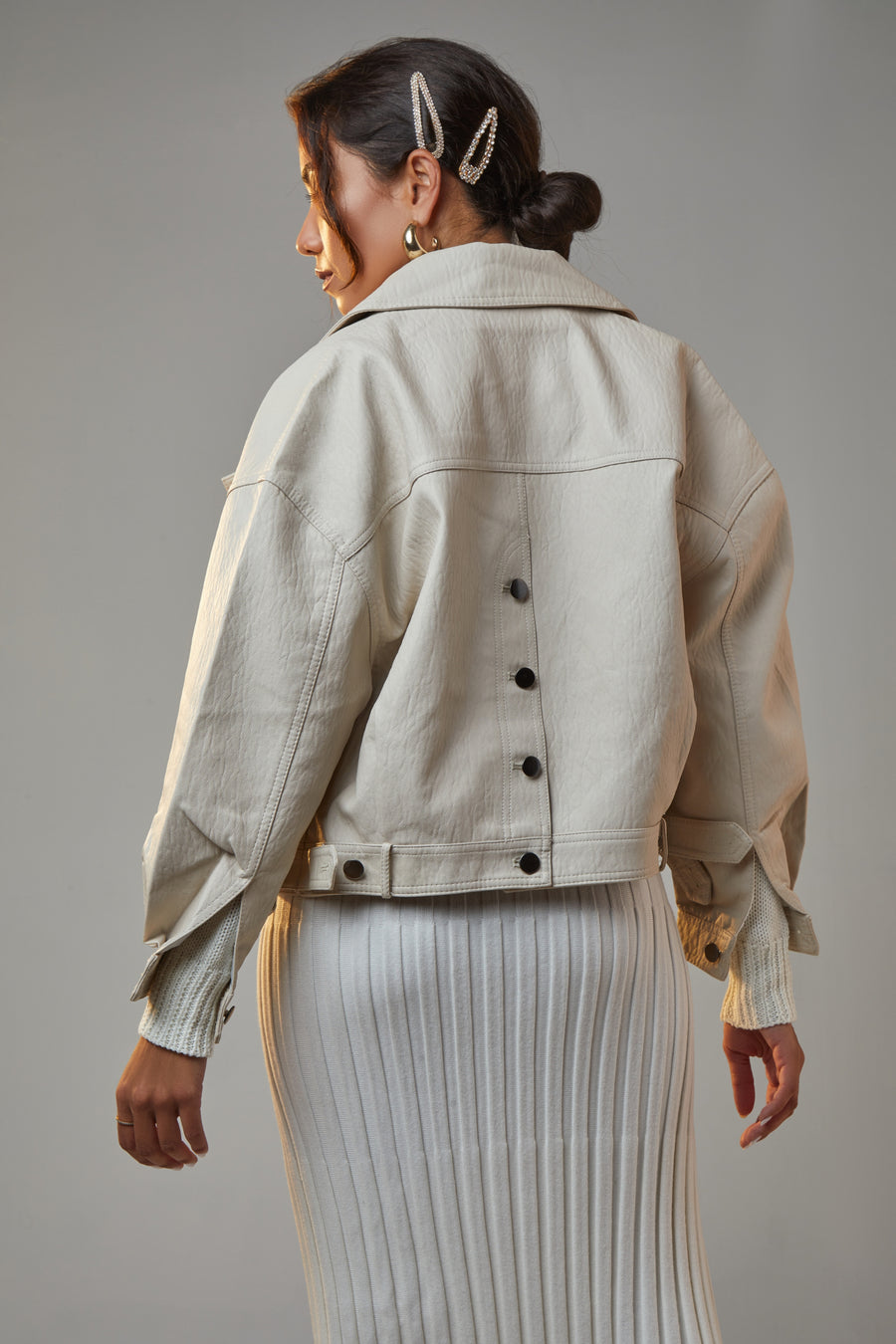 STEAMED MILK VEGAN LEATHER BIKER JACKET