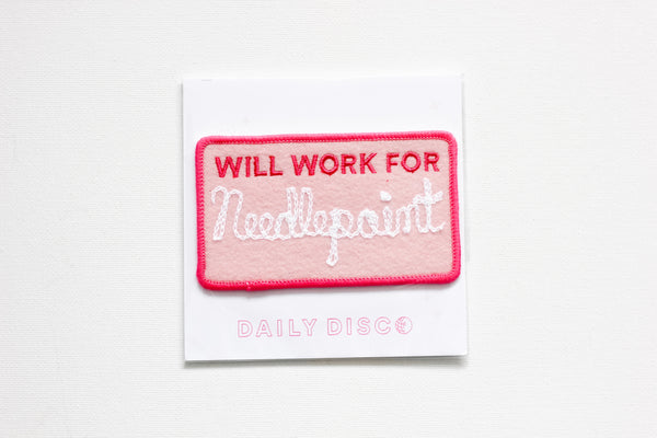 Will Work for Needlepoint Iron-On Patch