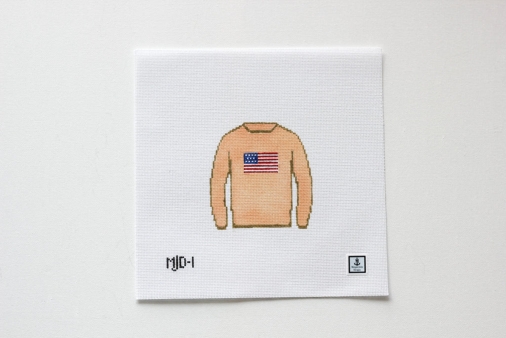 American Flag Sweater Needlepoint Canvas