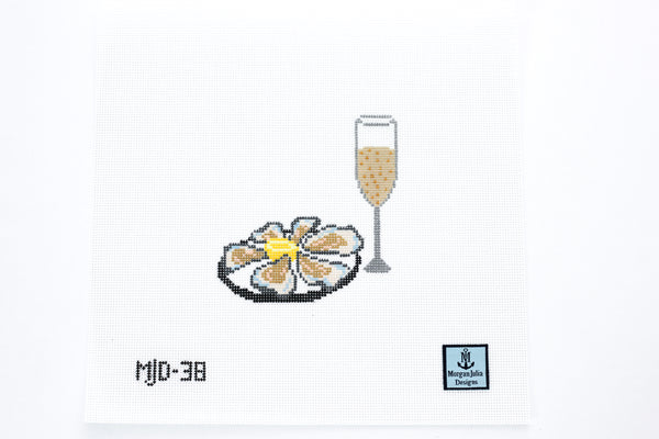 Oysters & Champagne Needlepoint Canvas