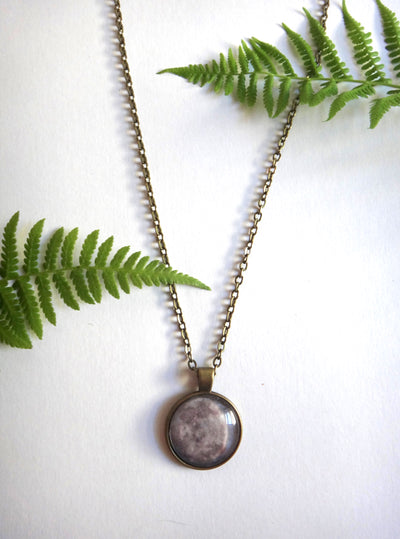 24 Inch Antique Bronze Full Moon Necklace