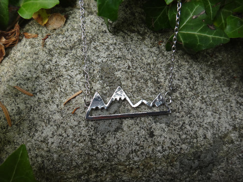 18 Inch Silver Plated Mountain Necklace