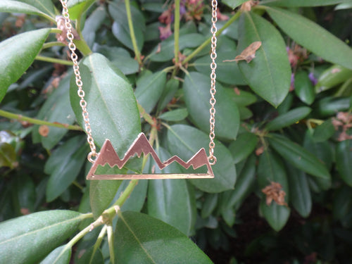 18 Inch Gold Plated Mountain Necklace