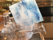 "Blue and white durable tempered glass 12"" square serving tray and kitchen cutting board by Brooks Works Studio in the USA."