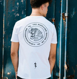 Men's Rebel Tiger Tee - White - Rebellion Distribution