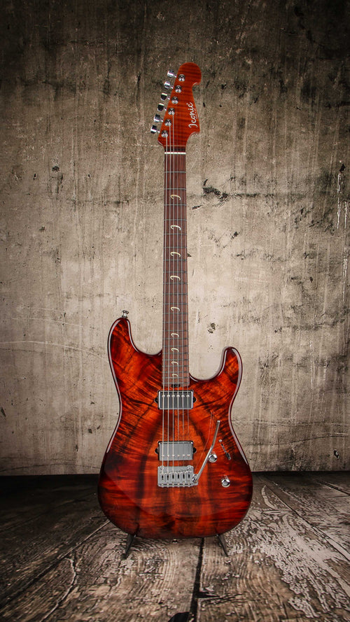 Iconic Guitars Evolution S Limited Reserve Koa Natural Trans Whiskey #0198 - Rebellion Distribution