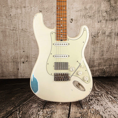Iconic Guitars Vintage Modern S-HR Aged Olympic White over Ice Blue #0197 - Rebellion Guitar Co.