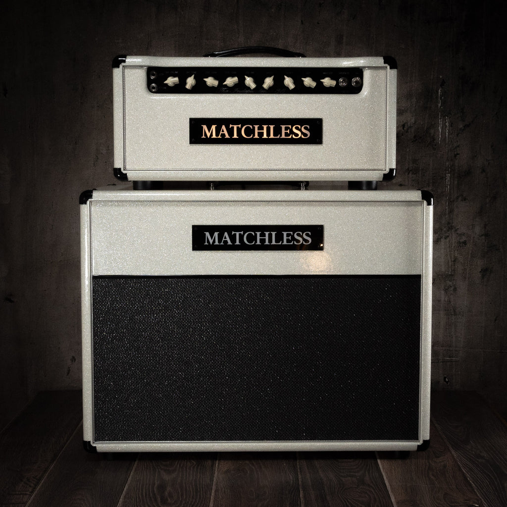 Matchless Amplifiers Independence-35R Head and Cab White Sparkle - Rebellion Guitar Co.