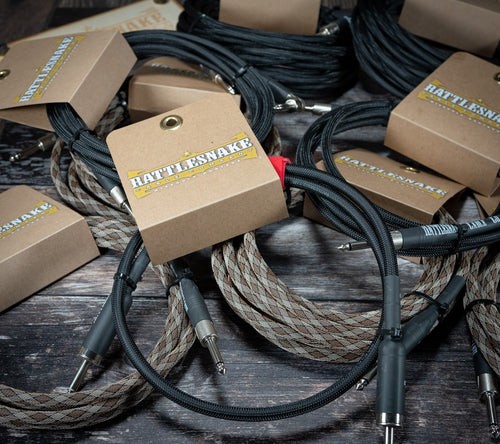 Rattlesnake Cables Black 10ft (3.0m) S/A - Rebellion Guitar Co.