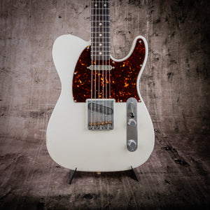 SMITTY CLASSIC T WHITE WITH MASTERGRADE ROASTED FLAME MAPLE NECK - The Renegade Guitar Co.