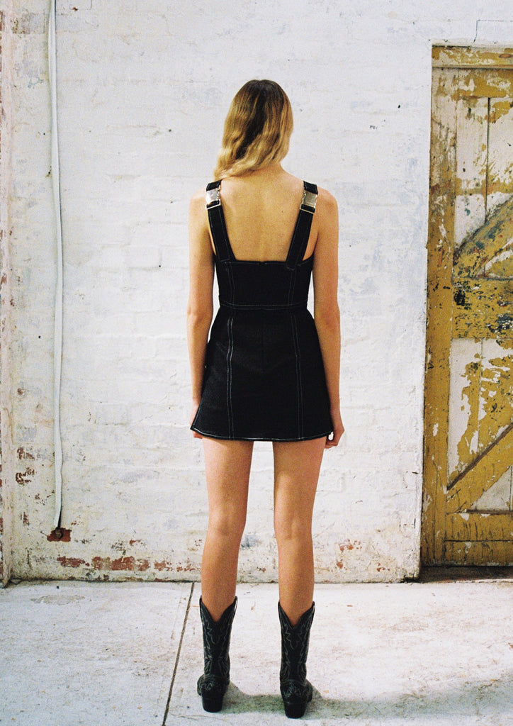 Project Bowman's Contrast Stitch Mini Dress. A Little Black Dress with Edge, side splits and cheeky length.