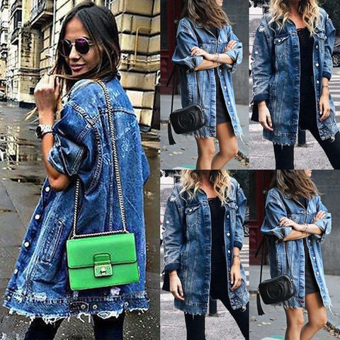 HIRIGIN Newest Women's Hole Patch Denim Ripped Distressed Long Denim Coat Outwear Winter Fashion Street Show Button Ponchos