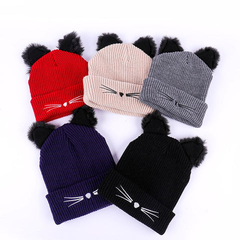 Katzenohren Frauen Hut Gestrickte Warme Häkelarbeit Winter Wolle Strick Ski Beanie Schädel Slouchy Caps Hut Cute Fashion Outdoor Schneekappe