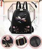Fashion Women Nylon School Bags For Teenage Girls Female Retro Dragonfly Embroidery Backpacks 2020 Travel Waterproof Backpack