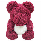 Dropshipping 40cm Teddy Bear of Rose Artificial Flowers PE Rose Bear for Women Valentines Wedding Christmas Gift Box Home Decor
