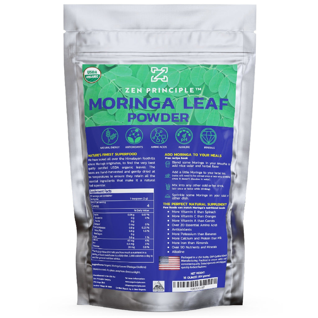 Organic Moringa Leaf Powder Zen Principle Naturals 1-Pack