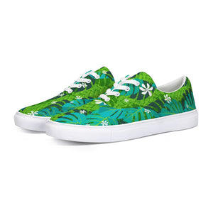 Monstera Tiare Weave 2 green Lace Up Canvas Shoe - The Mad Tropic