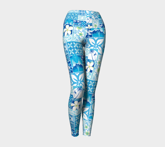 the-madtropic - Blue Hawaiian Motif - Art of Where - Yoga Leggings