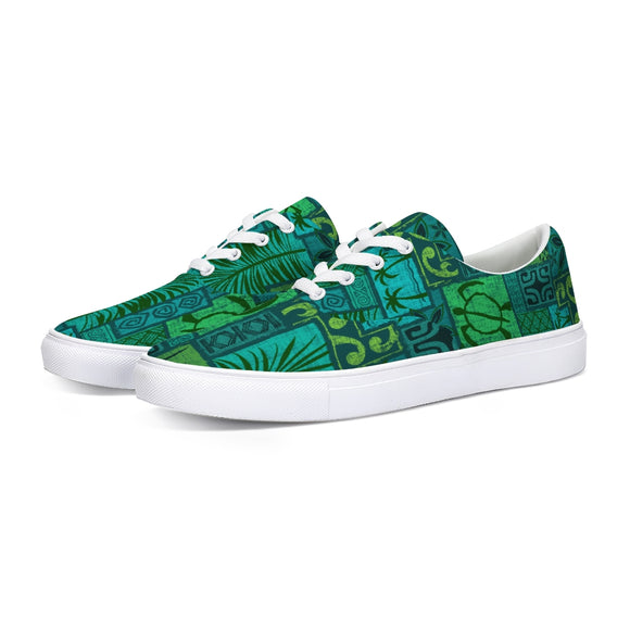 Moku Malihini on Blue Lace Up Canvas Shoe - The Mad Tropic