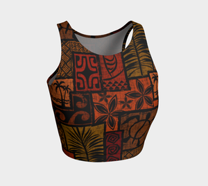the-madtropic - Moku Malihini Black Crop Top - Art of Where - Athletic Crop Top