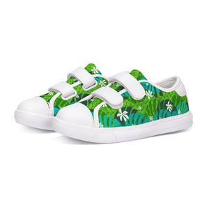 Monstera Tiare Weave 2 green Kids Velcro Sneaker - The Mad Tropic