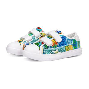 New Hawaiian Motif 20in Kids Velcro Sneaker - The Mad Tropic