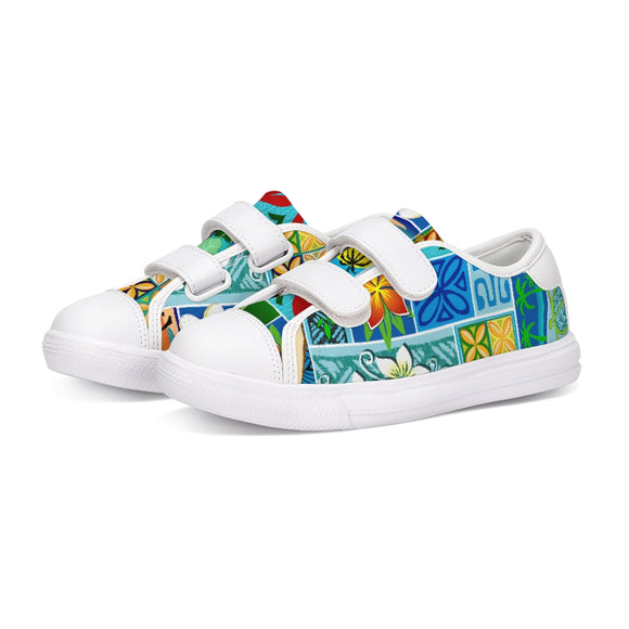 New Hawaiian Motif 20in Kids Velcro Sneaker
