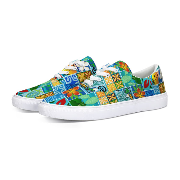 New Hawaiian Motif 20in Lace Up Canvas Shoe - The Mad Tropic