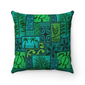 Moku Malihini on Blue, Faux Suede Square Pillow - The Mad Tropic