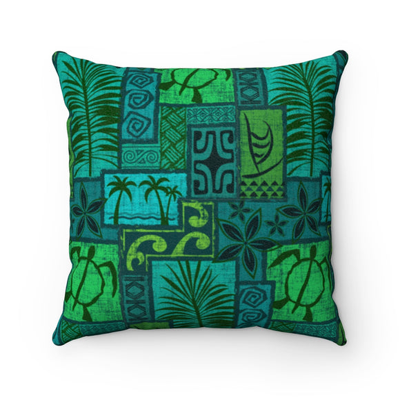 Moku Malihini on Blue, Faux Suede Square Pillow