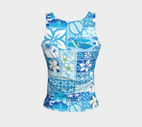 the-madtropic - Blue Hawaiian Motif Fitted Tank - Art of Where - Fitted Tank Top (Regular)