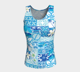 Blue Hawaiian Motif Fitted Tank Long - The Mad Tropic